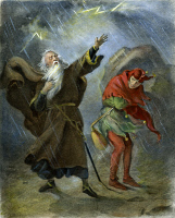0039117 © Granger - Historical Picture ArchiveKING LEAR, 19th CENTURY.   King Lear and the Fool. Illustration by Felix O.C. Darley (1822-1888) to William Shakespeare's 'King Lear.'