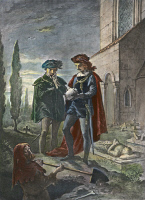 0041752 © Granger - Historical Picture ArchiveHAMLET IN GRAVEYARD.   Hamlet in the graveyard holding the skull of Yorick: illustration, 1891, after Felix Darley, from Shakespeare's