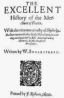 0048955 © Granger - Historical Picture ArchiveMERCHANT OF VENICE.   Title page of the first publication in quarto, 1600, of William Shakespeare's 'Merchant of Venice'.