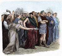 0056947 © Granger - Historical Picture ArchiveSHAKESPEARE: JULIUS CAESAR.   The soothsayer warns Caesar to beware the Ides of March. Wood engraving, 19th century, after Sir John Gilbert for William Shakespeare's 'Julius Caesar' (Act III, scene 1).