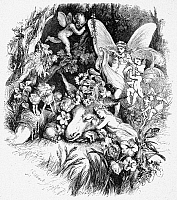 0059106 © Granger - Historical Picture ArchiveA MIDSUMMER NIGHT'S DREAM.   Act IV, Scene I. Wood engraving after Sir John Gilbert (1817-1897) for William Shakespeare's play.