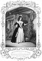 0071371 © Granger - Historical Picture ArchiveMERRY WIVES OF WINDSOR.   Fanny Elizabeth Fitzwilliam as Mrs. Page in William Shakespeare's 'Merry Wives of Windsor.' Steel engraving, English, c1870.
