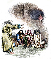 0116964 © Granger - Historical Picture ArchiveSHAKESPEARE: KING LEAR.   King Lear, Kent, the Fool, and Edgar, disguised as a beggar, in Act III Scene VI of William Shakespeare's 'King Lear.' Wood engraving, English, 1881, after Sir John Gilbert, digitally colored by Granger, NYC -- All Rights Reserved.