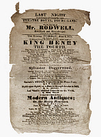 0127175 © Granger - Historical Picture ArchiveSHAKESPEARE: HENRY IV.   Playbill for a performance at the Theatre Royal, Drury Lane, London, England, 8 June 1819, of William Shakespeare's 'King Henry IV,' first part, followed by a comic interlude, musical performances, and a farce.