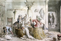 0127196 © Granger - Historical Picture ArchiveMERRY WIVES OF WINDSOR.   Falstaff being teased by the merry wives of Windsor.  Scene from Act III of William Shakespeare's comedy. Watercolor by George Cruikshank (1792-1878).