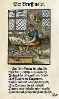 0009203 © Granger - Historical Picture ArchiveILLUMINATOR, 1568.   'The Illuminator colors or gilds pictures on paper or parchment; he does not hold with stencils, which produce poor work that is less highly remunerated.' Poem by Hans Sachs, woodcut by Jost Amman, 1568.