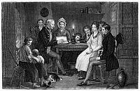 0042315 © Granger - Historical Picture ArchiveFAMILY READING, 1840.   'Saturday Night.' Line and stipple engraving, c1840.