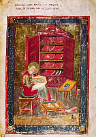 0023763 © Granger - Historical Picture ArchiveCODEX AMIATINUS: EZRA.   Ezra the scribe writing in a large codex held on his knees. Illumination from the Codex Amiatinus, Northumbria, early 8th century.