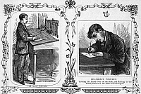 0095675 © Granger - Historical Picture ArchiveCORRECT WRITING POSITION.   A clerk illustrating the correct (left) and incorrect writing positions. Wood engraving, American, c1880.