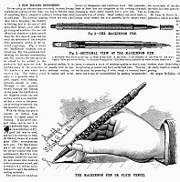 0095678 © Granger - Historical Picture ArchiveFOUNTAIN PEN, 1880.   'The MacKinnon Pen or Fluid Pencil.' Wood engravings from an American magazine, 1880.