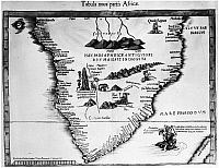 0004266 © Granger - Historical Picture ArchiveAFRICA: MAP, 15th CENTURY.   'Tabula Nova Partis Africae.' A late 15th century map of Africa from the 'Cosmographia' of Ptolemy, showing the headlands and rivers with names given by Portuguese navigators. The unknown has been filled in with mythical data.