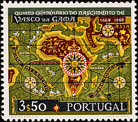 0007448 © Granger - Historical Picture ArchiveVASCO da GAMA, 1969.   Map of Africa and part of Asia showing Vasco da Gama's route around Africa to the East. Portuguese stamp, 1969, commemorating the 500th anniversary of the assumed year of the explorer's birth.