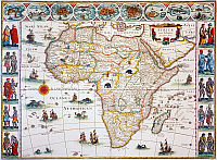 0009929 © Granger - Historical Picture ArchiveMAP OF AFRICA, 1630.   Willem Blaeu's ornamental map of Africa Newly Described.