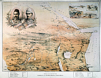 0032542 © Granger - Historical Picture ArchiveAFRICA: MAP.   Bird's eye view of the Sudan and surrounding countries. English lithograph map, 1884, of north, central, and east Africa, featuring the portraits of General Charles Gordon and Colonel Herbert Stewart, both of whom served at Khartoum.