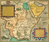 0043900 © Granger - Historical Picture ArchiveAFRICAN MAP, 1595.   Map of the kingdom of the legendary Prester John encompassing North East Africa, the Arabian peninsula and Persia from the 1595 edition of Abraham Ortelius' atlas 'Theatrum Orbis Terrarum.'