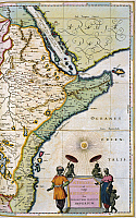 0099772 © Granger - Historical Picture ArchiveATLAS: EAST AFRICA, 1665.   Map of Ethiopia (kingdom of Prester John), Abyssinia, and Arabia, from Jan Blaeu's 'Atlas Maior,' printed in Amsterdam, 1665.