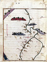 0131310 © Granger - Historical Picture ArchiveNILE: MAP, 1154.   Detail from Al Idrisi's map of the Nile River, 1154.