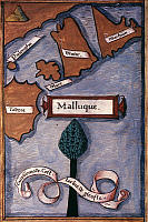 0022440 © Granger - Historical Picture ArchiveTHE MOLUCCAS.   French drawing of the spice islands after Pigafetta's account of Magellan's voyage.