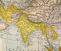 0032548 © Granger - Historical Picture ArchiveASIA MAP, 19th CENTURY.   Persia, Afghanistan, Turkestan, India, Tibet, Burma, and Siam. Detail from a late 19th century map of Asia.