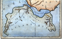 0009548 © Granger - Historical Picture ArchiveMAP OF ATLANTIS.   Map of Atlantis from Jean Baptiste Bory de St. Vincent's 'Essais sur les isles Fortunees,' Paris, France, 1803.