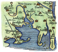 0057713 © Granger - Historical Picture ArchiveNEW ENGLAND MAP 1677.   Detail of a woodcut map of New England from William Hubbard's