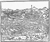 0125017 © Granger - Historical Picture ArchiveITALY: ROME, c1490.   Earliest known printed view of Rome, from Giacomo Filippo Foresti da Bergamo's 'Supplementum Chronicarum,' published in Venice, c1490.