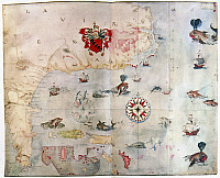 0011539 © Granger - Historical Picture ArchiveNORTH AMERICA: MAP, c1585.   Map of eastern North America from Florida to the Chesapeake Bay. Shows Sir Walter Raleigh's coat of arms, flying fish and whales. Watercolor, c1585, by John White.