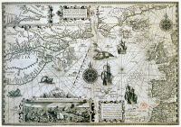 0623216 © Granger - Historical Picture ArchiveMAP: CANADA, c1594.   A map depicting the eastern coast of Canada, along with the northern Atlantic Ocean and western Europe, inset with a whaling scene. Engraved map by Jan van Doetecom and David de Meyne, c1594.