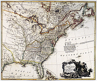 0126286 © Granger - Historical Picture ArchiveMAP OF AMERICA, 1809.   Map of the United States of America by William Faden, 1809.