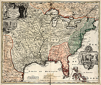 0186302 © Granger - Historical Picture ArchiveMAP: AMERICA, c1720.   'Amplissima Regionis Mississipi seu Provinciae Ludovicianae...' Map drawn by Johann Baptist Homann, c1720. Engraving.