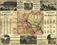 0216438 © Granger - Historical Picture ArchiveMAP: RAILWAY, 1874.   A map of the Chicago, Milwaukee, and St. Paul railways, with illustrations. Map by Rand McNally & Co., 1874.