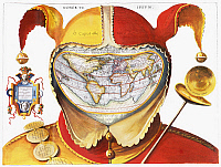 0088623 © Granger - Historical Picture ArchiveFOOL'S CAP WORLD MAP, c1590.   Fool's cap map of the world, c1590 by an unknown artist. The panel on the left reads: 'Democritus laughed at it, Heraclitus wept over it, Epichthonius Cosmopolites portrayed it.'
