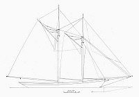 0099608 © Granger - Historical Picture ArchiveSCHOONER SAIL PLAN, 1889.   Sail plan of the fishing schooner 'Fredonia,' built at Boston, Massachussetts, 1889.