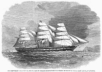 0099992 © Granger - Historical Picture ArchiveSTEAM CLIPPER SHIP, 1863.   The English clipper 'Great Victoria' furnished with an auxiliary steam engine and screw, built for the Liverpool-Australia route.  Wood engraving, English, 1863.