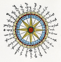 0011341 © Granger - Historical Picture ArchiveCOMPASS CARD, 1596.   Showing two systems for describing a ship's course by degrees (inner circle) and by compass points (outer names); the sundial markings in the outer circle told the time. Colored woodcut from John Davis'
