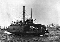 0115359 © Granger - Historical Picture ArchiveNEW YORK FERRY, c1898.   The ferry steamboat 'Brooklyn,' crossing the East River. Photograph, c1898.