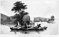0087962 © Granger - Historical Picture ArchiveFLATBOAT, WYOMING.   'Crossing of the Platte Mouth of Deer Creek.' Lithograph, American, mid-19th century.