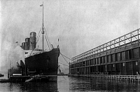 0110550 © Granger - Historical Picture ArchiveNEW YORK: LUSITANIA, 1908.   The Cunard steamship 'Lusitania' at New York Harbor, 20 November 1908.