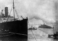 0110553 © Granger - Historical Picture ArchiveNEW YORK: LUSITANIA, 1914.   The Cunard steamship 'Lusitania' at New York Harbor, 6 March 1914.