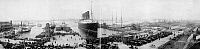0110558 © Granger - Historical Picture ArchiveNEW YORK: LUSITANIA, 1907.   The Cunard steamship 'Lusitania' at New York Harbor at the end of its record trans-Atlantic voyage. Panorama photograph, 1907.