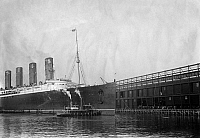 0110570 © Granger - Historical Picture ArchiveNEW YORK: LUSITANIA, 1908.   The Cunard steamship 'Lusitania' at New York Harbor, 20 November 1908.