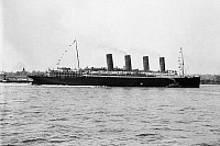 0110577 © Granger - Historical Picture ArchiveWORLD WAR I: LUSITANIA.   The Cunard steamship 'Lusitania,' first used in 1907 and torpedoed by a German submarine near the Irish coast on 7 May 1915.