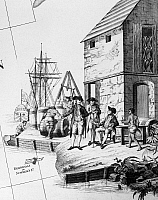 0130289 © Granger - Historical Picture ArchiveBERMUDA: TRADE, c1784.   British tobacco merchants at a port in Bermuda. Detail of a map of North America and the West Indies, by Albert and Lotter, c1784.
