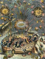 0041543 © Granger - Historical Picture ArchiveFIREWORKS, 1630.   Fireworks on water with an imitation of Naval Combat. Copper engraving, French, 1630.