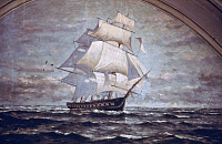 0064847 © Granger - Historical Picture ArchiveFRIGATE, 19th CENTURY.   Square-rigged, three masted frigate. Detail of mural by Constantino Brumidi in Capitol, 19th century.