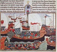 0101691 © Granger - Historical Picture ArchiveCRUSADER FLOTILLA.   Crusaders embarking for the Holy Land. Manuscript illumination, English, 15th century.