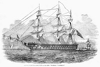 0268358 © Granger - Historical Picture ArchiveSHIP: NUZETIEH, 1854.   The Nuzetieh (Victorious), flagship of Admiral Adolphus Slade of the Turkish Navy. Wood engraving, English, 1854.