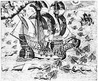 0027895 © Granger - Historical Picture ArchiveFLYING FISH, c1548.   Flying fish, attempting to escape predators, fall on the deck of a Portuguese ship in West Indian waters, 1547-48. Line engraving, 1592, by Theodor de Bry.