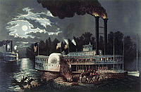 0102966 © Granger - Historical Picture ArchiveMISSISSIPPI RIVERBOAT.   'Wooding Up, on the Mississippi.' Lithograph by Fanny Palmer, printed by Currier and Ives, c1863.