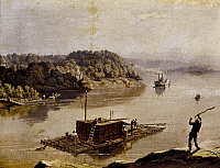 0163385 © Granger - Historical Picture ArchiveILLINOIS: KEELBOAT.   Keelboat at the confluence of the Ohio and Mississippi Rivers at Cairo, Illinois. Oil on canvas, 19th century, by an anonymous artist.